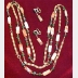 """Napier signed Vintage strand of beads 54 """" long w/matching clip earrings"""