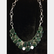Sterling necklace with heliotype jasper, chrome diopside, shiva eye