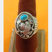 Native American Mens Sterling Turquoise Ring