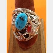 Signed Navajo Native American Mens Sterling Turquoise Coral Mens Ring