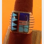 Zuni Native American Mens Sterling Turquoise Coral