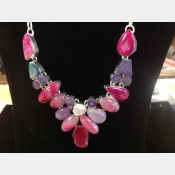 Sterling multi-color agate and druzy artisan crafted necklace.