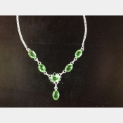 Sterling necklace with faceted green peridot.
