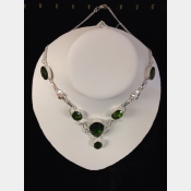Sterling necklace with faceted chrome diopside