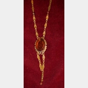Victorian Necklace - reverse carved glass center Stone