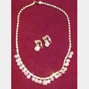 Vintage AB rhinestone and crystal choker with matching earrings